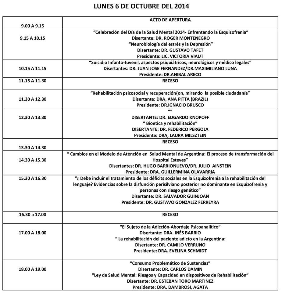 Programa V Jornadas de Psiconeurorehabilitacion